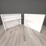 Mostrador para recepción de madera 117 X 110 X 30 cm. en varios colores