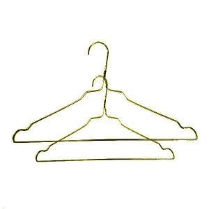 Metal hanger galvanized wire in golden color with notches