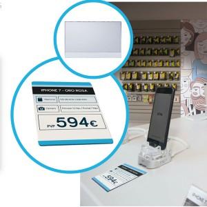 Placa de metacrilat per posar preus, vista general, referència i dades tècniques de productes