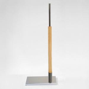 Base metal rectangular mástil madera 60cm. tubo metálico 35cm.