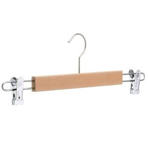 Cintre en bois de hêtre avec clips pour jupe ou pantalon 36 cm. Mod.2