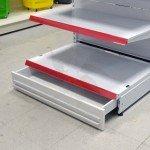 Cajón inferior con ruedas para estanterías y góndolas