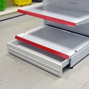 Bottom drawer with wheels for shelves and gondolas