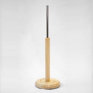 Base de bois tourné ronde diamètre 28,5cm. mât en bois 49cm. tube métallique 35cm.