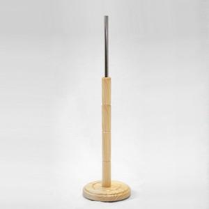 Base de fusta tornejada rodona diàmetre 33,5cm. pal fusta 66cm. tub metàl • lic 35cm.
