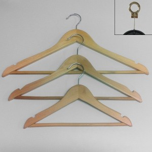 Holzbügel mit Bar und gekerbt 38-45 cm.