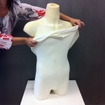 Cotton liner for male bust form with legs