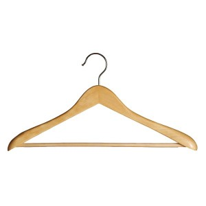 Anatomical wooden hanger with bar non-slip 47 cm.