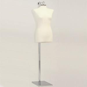 Buste de femme avec tenon pour accrocher + Base en métal rectangulaire mât métal + Cintre pour buste sur base de soutien
