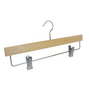 Cintre en bois de hêtre avec clips pour jupe ou pantalon 36 cm.