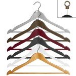 Curved wooden hanger with bar and notches 45 cm.