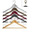 Curved wooden hanger with nonslip bar and notches 45 cm.