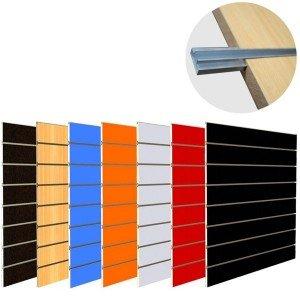 Panel de lamas en tablero DMF melaminico con guías de aluminio
