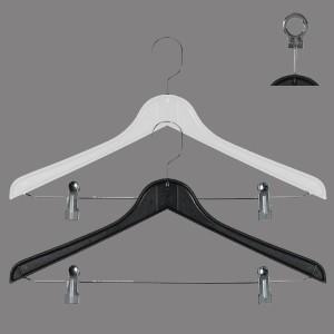 Kunststoff-Kleiderbügel Flach mit Klammern 43 cm.