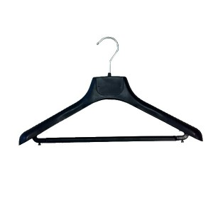 Plastic hanger with bar with big shoulder pads 42 or 45cm.