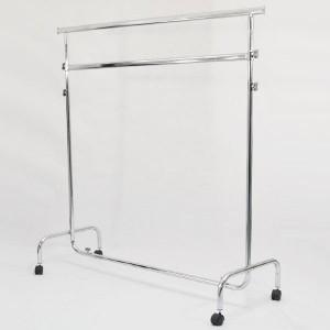 Penjador metàllic amb rodes d'ample 150cm. extensible i regulable en alçada amb doble barra