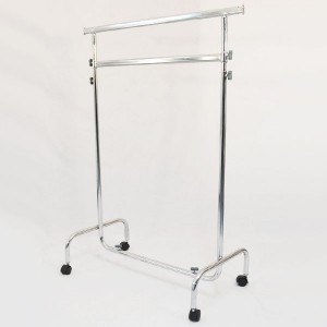 Metallic clothes rack with wheels width 100cm. extensible and height adjustable with double bars