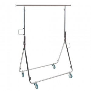Metallic clothes rack for agents with wheels completely folding