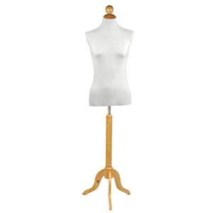 Pack Busto donna + Base in legno treppiedi classica + Tappo in legno piana con palla