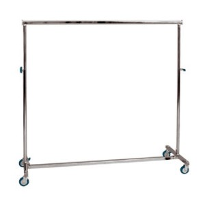 Folding metallic clothes rack with wheels width 150cm. adjustable height
