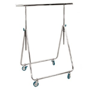 Folding metallic clothes rack for agents with wheels