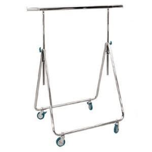Porte-vêtements pliable en métal pour le représentant avec roues