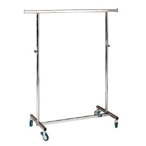 Folding metallic clothes rack with wheels width 100cm. adjustable height