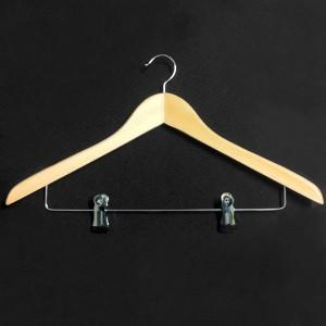 Gebogene Holz Kleiderbügel mit clips 45 cm.