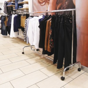 Economic clothes rack fixed height 150cm. in length with wheels