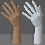 Weiblicher Hand in Polyethylen