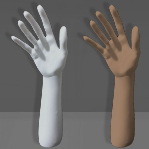 Expositor mà amb braç en polietilè