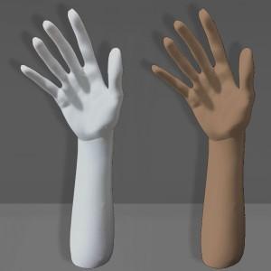 Expositor mano con brazo en polietileno