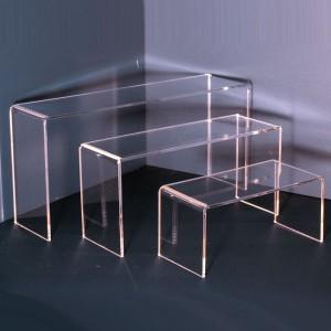 Rectangular ledge display various heights