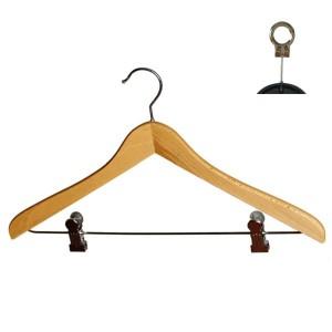 Gebogene Buchenholz Kleiderbügel mit Clips 45 cm.
