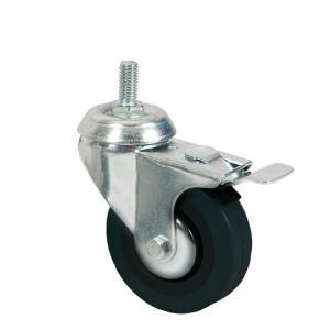 Rueda con tornillo para perchero con freno diámetro 80mm.