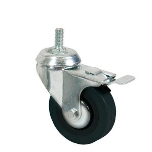 Wheel with screw for clothes racks with brake 80mm diameter