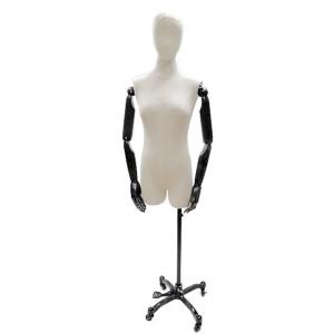 Buste mannequin de dame avec tête et bras articulés + base en acier