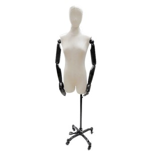 Lady bust mannequin with head and articulated arms + steel base