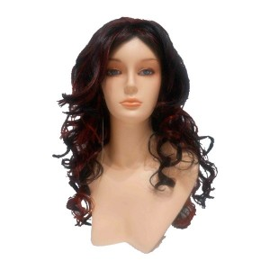 Long brunette wig with red highlights