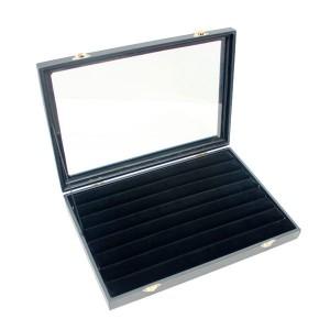 Expositor de madera de 60 anillos con tapa de cristal