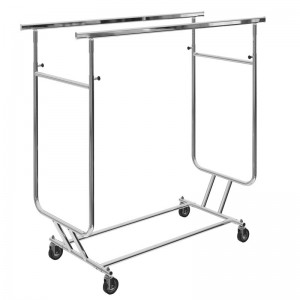 Folding clothes rack with wheels and double adjustable bar height and width
