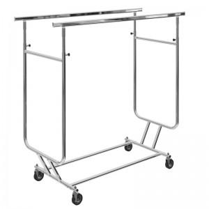 Perchero plegable con ruedas y doble barra regulable en altura y ancho