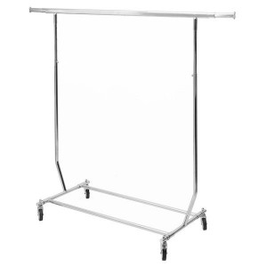 Folding clothes rack with wheels and adjustable in height and width bar