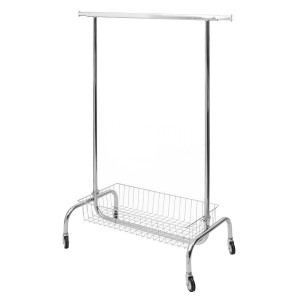 Metal coat rack with basket and wheels extensible in width 100cm