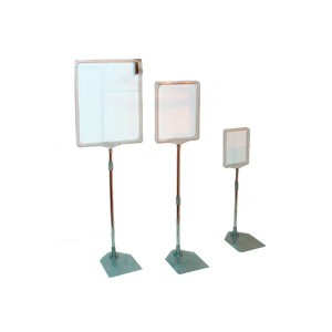 Display with telescopic base metal poster holder