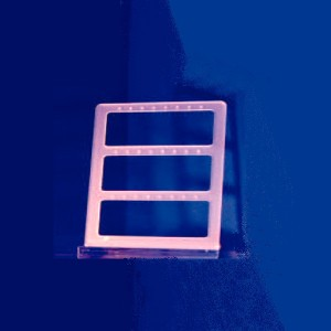 Expositor de pendientes de 3 ventanas esquinas redondeadas