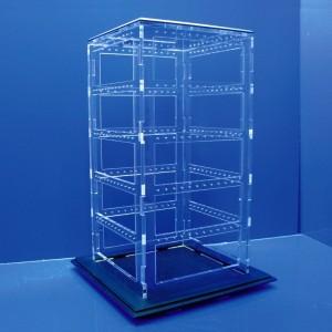 Expositor de pendientes forma de prisma con ventana de 120 pares