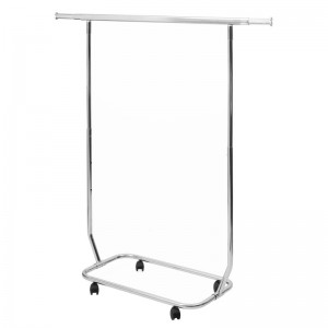 Metallic coat rack with extendable wheels in height and width 80cm