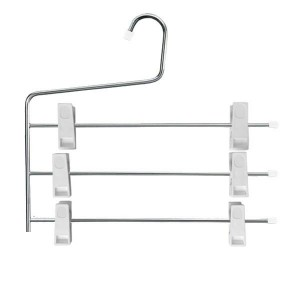 Metal hanger with 3 bars and clips 34 cm.