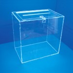 Exhibitor voting booth with lid on table